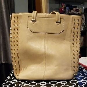 Large Tan Spiked Tote